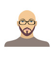 the face of a bald man with glasses with a beard vector image vector image