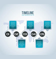 timeline infographic world number in circle vector image