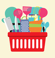 Utensil In Shopping Basket vector image vector image