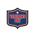 veterans day shield emblem us military holidayl vector image vector image