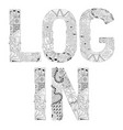 Word log in for coloring decorative vector image