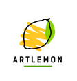 yellow lemon in abstract hand drawn line logo vector image