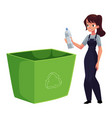 young woman throwing plastic bottle in trash vector image vector image