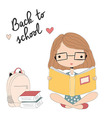 Young girl with glasses reading a book school vector image