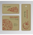 Set of cards templates for pizza party vector image