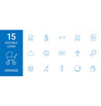 15 orange icons vector image vector image
