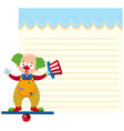 a clown on note template vector image vector image