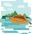 Abstract design with a wooden boat on the water vector image vector image