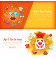 april fools day banner set template cartoon style vector image vector image