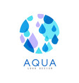 aqua logo design brand identity template with vector image vector image