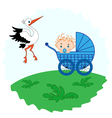 Baby boy in a and stork beside him vector image vector image