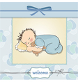 baby shower card with little baby boy sleep with vector image vector image