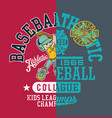 baseball kids college league champ vector image vector image