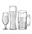 beer glasses on white vector image