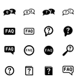 black faq icon set vector image vector image