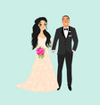 bride and groomcouple wedding card with the vector image