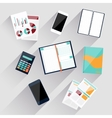 Calculator smartphone stationery and documents vector image