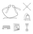 car lift pump and other equipment outline icons vector image