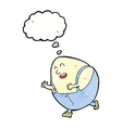 cartoon humpty dumpty egg character with thought vector image vector image