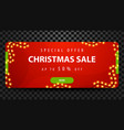 christmas sale up to 50 off red bright horizontal vector image vector image
