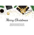 christmas working place christmas gift box vector image vector image