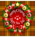 Christmas wreath on a tan plaid background vector image vector image