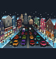 city scene with traffic at night vector image vector image
