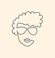 continuous line face in sun glasses drawing vector image vector image