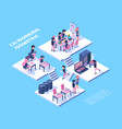 coworking isometric business team freelancer vector image vector image