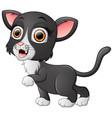 cute black cat cartoon waving vector image