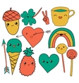 cute hand drawn doodle collection vector image vector image