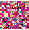 cute hearts stars and flowers abstract art pattern vector image vector image