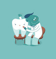 dentist check up tooth for good healthy dental vector image