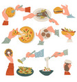 eating italian and american cuisine dishes with vector image vector image