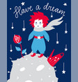 fairytale poster with phrase vector image vector image