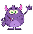 funny cute monster cartoon character waving vector image vector image