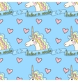 Funny pattern unicorn with heart on a blue vector image vector image