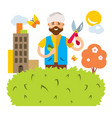 gardener in the city flat style colorful vector image vector image
