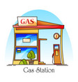 gas station with fuel pumppetrol cartoon building vector image vector image