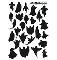 ghosts silhouette icons halloween party holiday vector image vector image