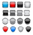 glass buttons with metal frame set vector image