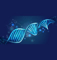 glowing dna spiral and hud elements on a dark blue vector image