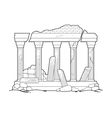 Graphic ruined ancient architecture vector image vector image