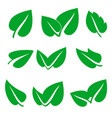 green spring leaf icons set stock vector image vector image