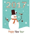 Greeting card 2017 with snowman vector image