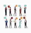 group of people business with speech bubble vector image