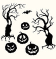 halloween pumpkin lantern and tree stencil vector image vector image