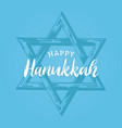 happy hanukkah hand lettering star david vector image