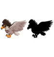 hawk and its silhouette vector image