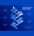 isometric concept analytics strategy vector image